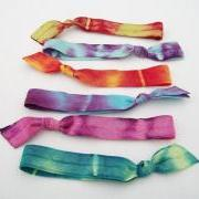 6 Tie Dye Hair Ties by Lucky Girl