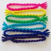 6 Hair Ties, Braided Rainbow Bungee Bands by Lucky Girl